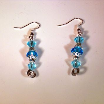 TIME TO SPARKLE - Turquoise Glass Dangle Wire Earrings