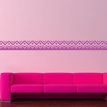 Wall Decor Vinyl Sticker Room Decal Art Abstract Borders Lines Zigzag 1321