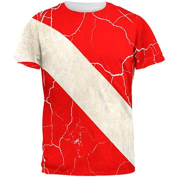 Diver Down Distressed Weathered Flag All Over Mens T Shirt