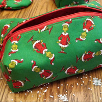 Toiletry Cosmetic Shaving Dopp Travel Case Boxy Bag Grinch Fabric SweeT STockinG STuffeRs! Designs by Sugarbear Boutique GRinchMaS Gift