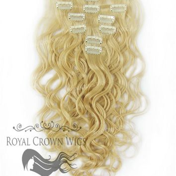 Brazilian 7 Piece Body Wave Human Hair Weft Clip-In Extensions in #613