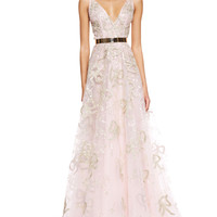 Oscar de la Renta Sleeveless Bow-Embroidered Gown and Golden Metal Waist Belt
