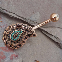 Paisley Turqouise 14kt Rose Gold Turquoise Flower Belly Button Ring