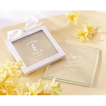 Personalized Glass Coasters - Kate's Rustic Bridal Shower Collection (Set of 12)