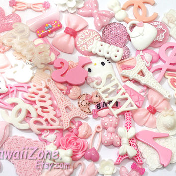 DIY cell phone case cabochon resin decoden kit / Kawaii decoden cabochon Deco kit random assorted mix Pink White / embellshment / craft art