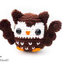 cute brown owl amigurumi plush doll toy