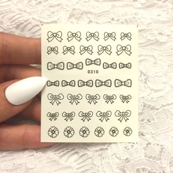 Bow Nail Stickers, Bow Nail Decals, Nail Stickers, Women's Nail Accessories, Nail Decals, Cute Bow Nail Stickers, Gift for Her