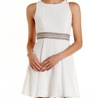 Off White Neon-Embroidered Waistband Skater Dress by Charlotte Russe