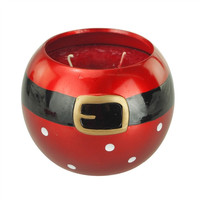 Santa Belt Ceramic Pot Holiday Christmas Scented Candle, 4-1/2-Inch