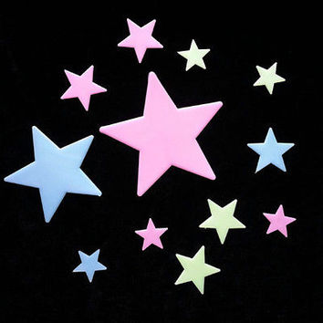 100PCS DIY Glow In The Dark Star Plastic Stickers Ceiling Wall Bedroom HU