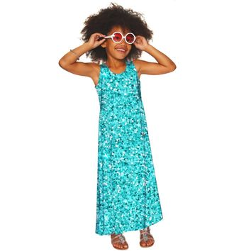 Glittering Azure Bella Blue Sleeveless Empire Waist Maxi Dress - Girls