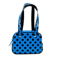 Blue with Black Polka Dot Bowler Bag Sexy Pinup Purse