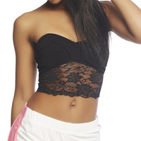 Lace Trim Twist Front Bandeau | Wet Seal
