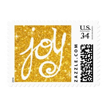 gold glitter Christmas joy calligraphy Postage