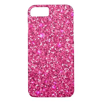 Chic Elegant Pink White Glitter Confetti Dots iPhone 7 Case