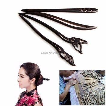 Fashion Chinese Traditional Womens Wooden Beads Clasps Hairpin Classical Lady Hair Stick  -W128