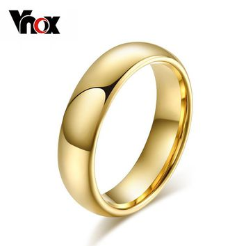 Vnox Simple 6mm Real Tungsten Ring Wedding Rings for Men Women Smooth Hand Polishing