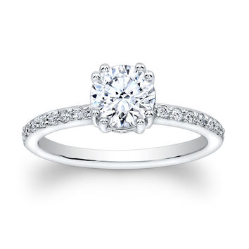 Ladies 14kt white gold pave diamond engagement ring with 1ct Round White Sapphire Center