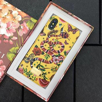 GUCCI New Fashion Snake Flower Butterfly Pattern Mobile Phone Case iphone 6 6plus iphone 7 7plus iphone 8 8plus iphone X Phone Shell Yellow I12484-1