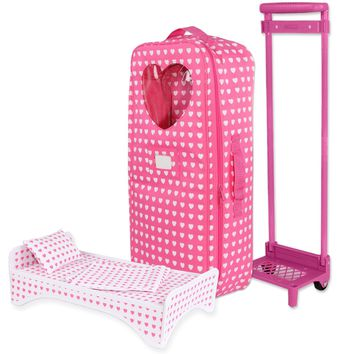 Doll Clothes Fits American Girl & Other 18 Inch Dolls Carrier Trolly Travel Bag