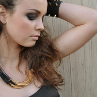 Statement Necklace- Black Leather with Gold or Silver Tube Accents, Black Statement Necklace, Chunky Necklace, Leather Necklace