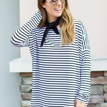 PIKO Stripe Top -White + Black
