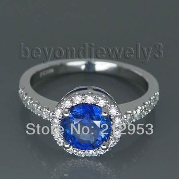 Vintage Round 6.5mm Platinum PT900 Natural Sapphire Jewelry Ring, Diamond Blue Sapphire Engagement Ring For Sale WU025