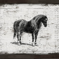 """Handmade wooden horse sign framed in black distressed frame. Approx. 13""""x19""""x2""""."""