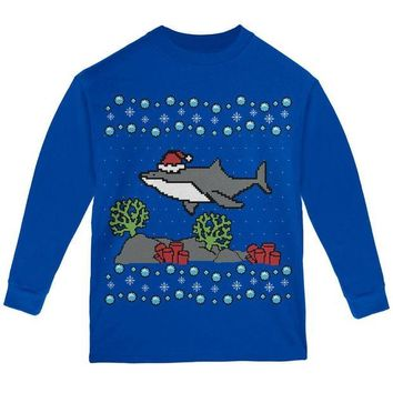 LMFCY8 Ugly Christmas Sweater Shark Santa Hat Youth Long Sleeve T Shirt