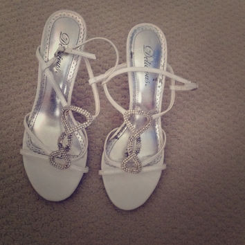 White And Rhinestone Strappy Heels (Small/Indie Brands)