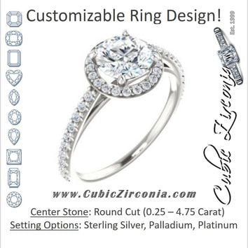 Cubic Zirconia Engagement Ring- The Catherine Lea (Customizable Round Cut Design with Halo and Stackable, Thin Pavé Band)