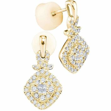 14kt Yellow Gold Women's Princess Diamond Soleil Square Frame Cluster Dangle Earrings 1-2 Cttw - FREE Shipping (US/CAN)