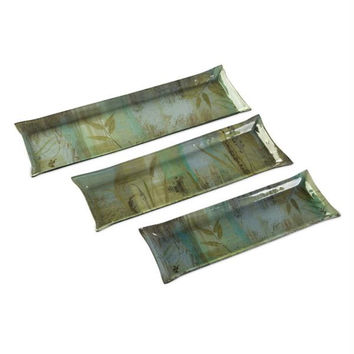 3 Serving Tray Platters - Grass Pattern
