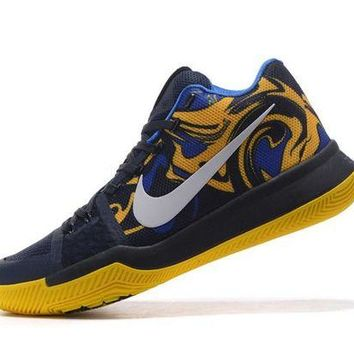 DCCKIJ2 Men's Nike Zoom Kyrie 3 Basketball Shoes Blue Yellow