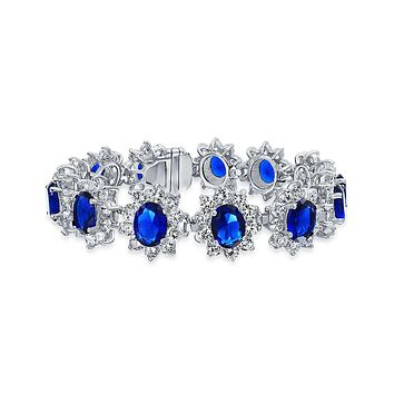 Blue Crown Oval CZ Tennis Bracelet Simulated Sapphire Silver Plated