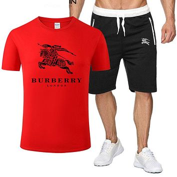 Burberry Fashion New Letter War Horse Print Sports Leisure Top And Shorts Two Piece Suit Men Red