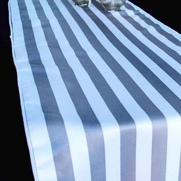 "Cloth Striped Table Runner in Grey and White12"" x 108"""