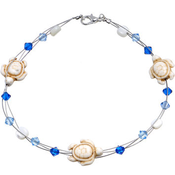 Handcrafted Stone Sea Turtles Anklet Created with Swarovski Crystals