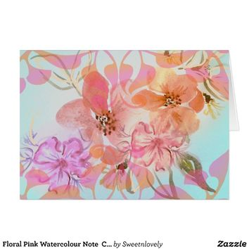 Floral Pink Watercolour Note Card