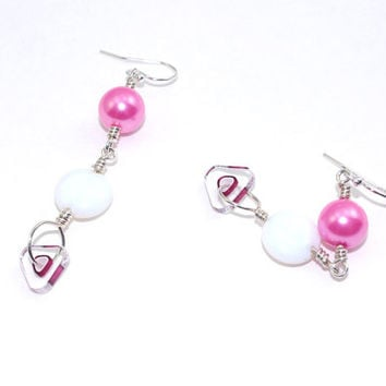 Hot pink rose pearl drop dangle earring White ivory cream opal bead ear ring Sterling silver hook earing Clear round glass Fuschia wire wrap