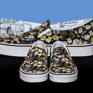 QIYIF PEANUTS X VANS CLASSIC SLIP ON Snoopy and the Gang