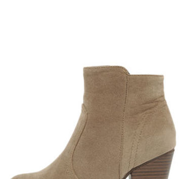 Heydays Beige Suede Ankle Boots