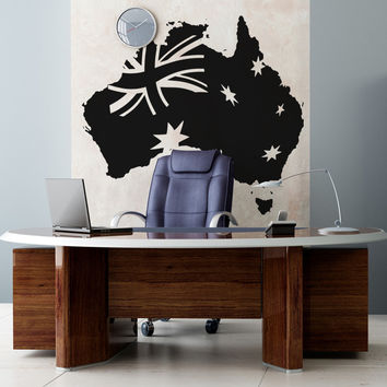 Vinyl Wall Decal Sticker Australian Map with Flag #OS_AA494