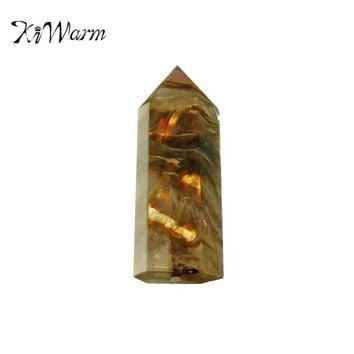 KiWarm Hot Sale Rare Yellow Quartz Crystal Single Terminated Wand Healing Specimen Gemstone Minerals Ornaments For Home Decor