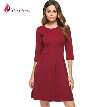 Berydress Elegant Women O-neck 3/4 Sleeve Pleat Waist with Pockets Casual A-Line Fit and Flare Solid Skater Dress Short