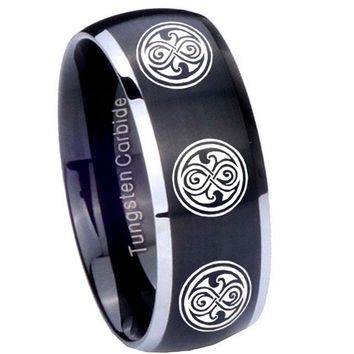 8MM Matte Brush Black Dome Multiple Doctor Who 2 Tone Tungsten Laser Engraved Ring