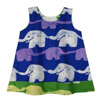 Reversible Baby Dress Blue and Lime Elephants - Global Mamas (B)