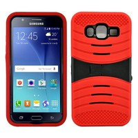 Samsung Galaxy J3 Hybrid Silicone Case Cover Stand Red