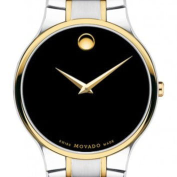 Movado Serio Men's Black Museum Dial Two Tone Stainless Steel 38mm Watch 0606388
