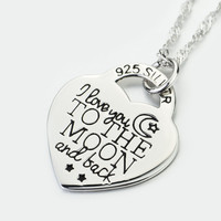 925 Sterling Silver Heart Pendant Necklace For Women Jewelry I Love You to The Moon and Back Choker Necklace
